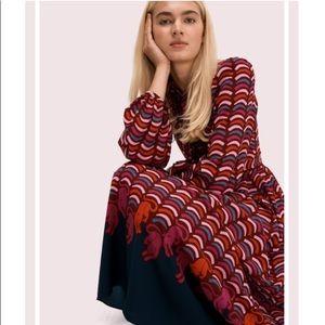 ♠️Kate Spade Mainline Rawr Crepe Midi Dress Multi